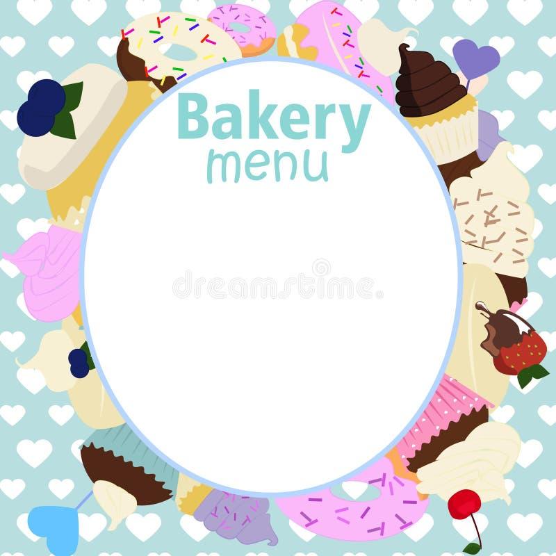 传染媒介蛋糕房子的,面包店菜单设计 向量例证