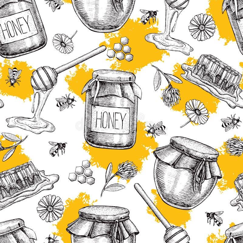 传染媒介蜂蜜无缝的样式 背景被画的现有量葡萄酒 库存例证