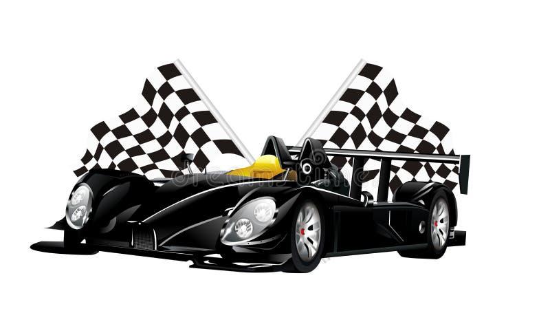 传染媒介黑蜘蛛赛车和旗子 库存例证