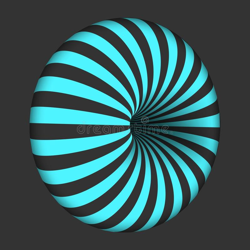 传染媒介螺旋错觉模板 螺旋扭转的漩涡百吉卷形状 库存例证