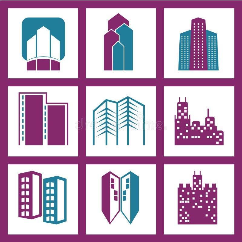 传染媒介被设置的城市大厦 免版税图库摄影
