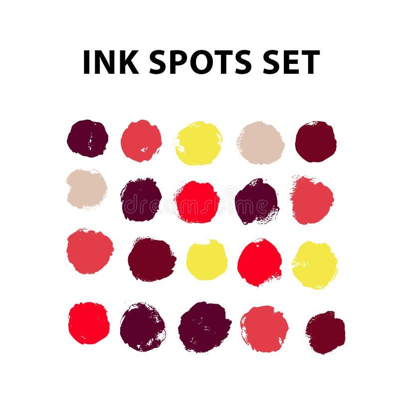 传染媒介被设置的墨水斑点 墨水投下汇集 免版税库存图片