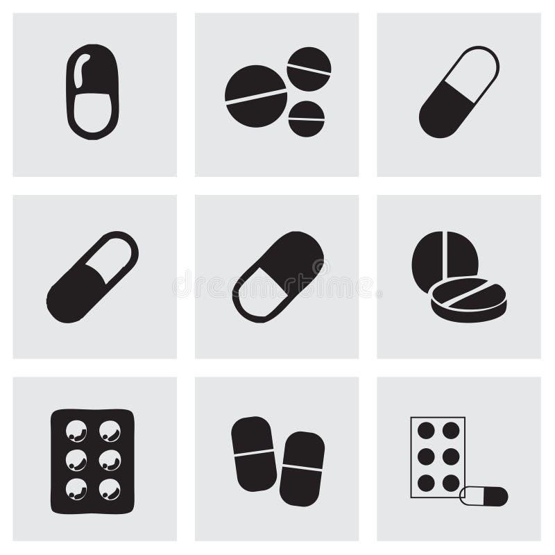 传染媒介被设置的药片象 向量例证