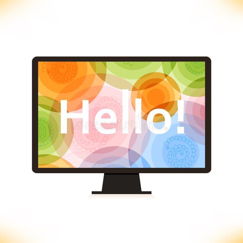 传染媒介被隔绝的显示器多色屏幕计算机剪影 库存例证