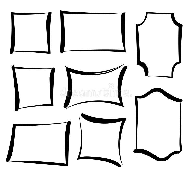 传染媒介被绘的框架 套掠过的难看的东西时髦的框架 韩 库存例证