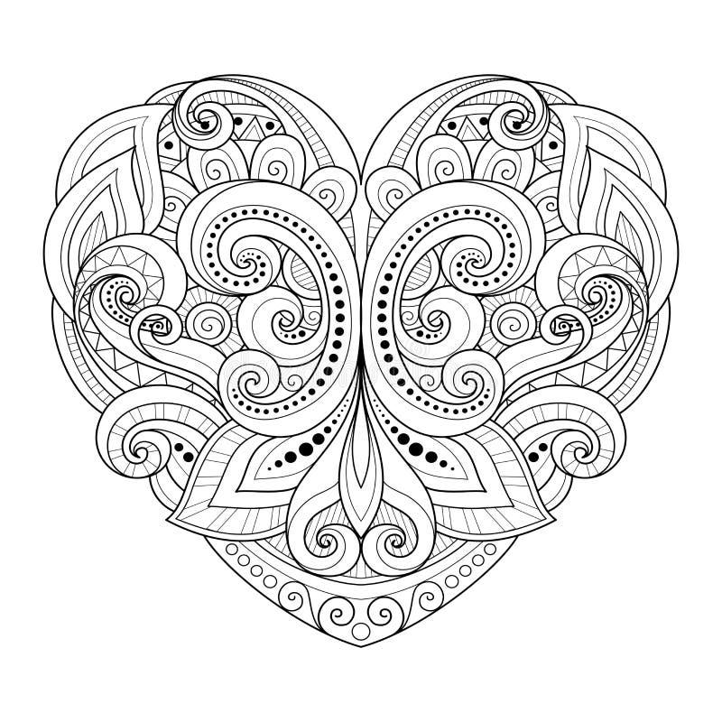 传染媒介装饰单色抽象心脏 库存例证