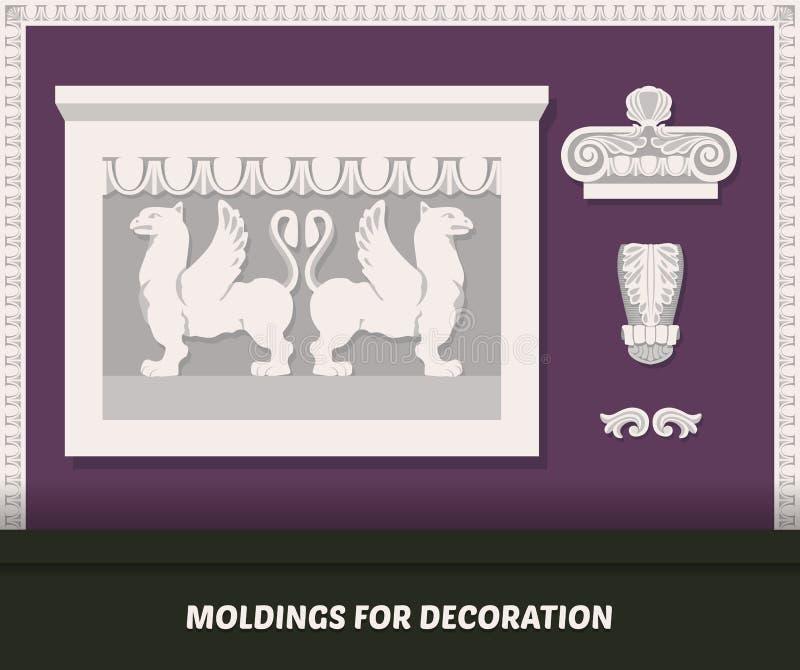 传染媒介装饰的造型元素 在紫色墙壁上的经典造型 与造型的豪华墙壁设计 装饰带和mod 皇族释放例证