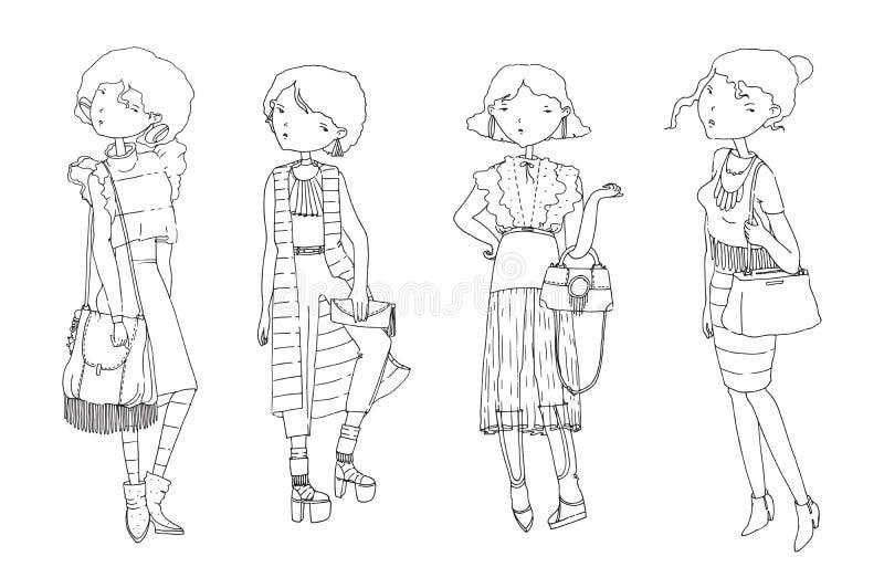 传染媒介设置了与便衣的手拉的时尚女孩 夏天神色,有益于年轻行家妇女 黑白illustratio 库存例证
