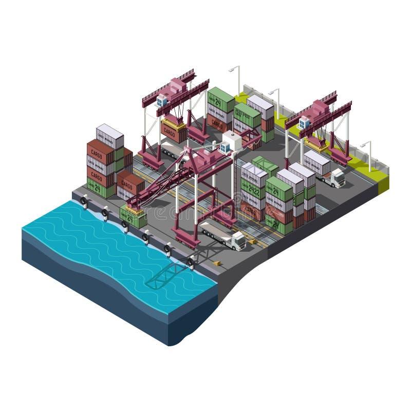 传染媒介设置了与做装货的工业建筑用起重机 向量例证