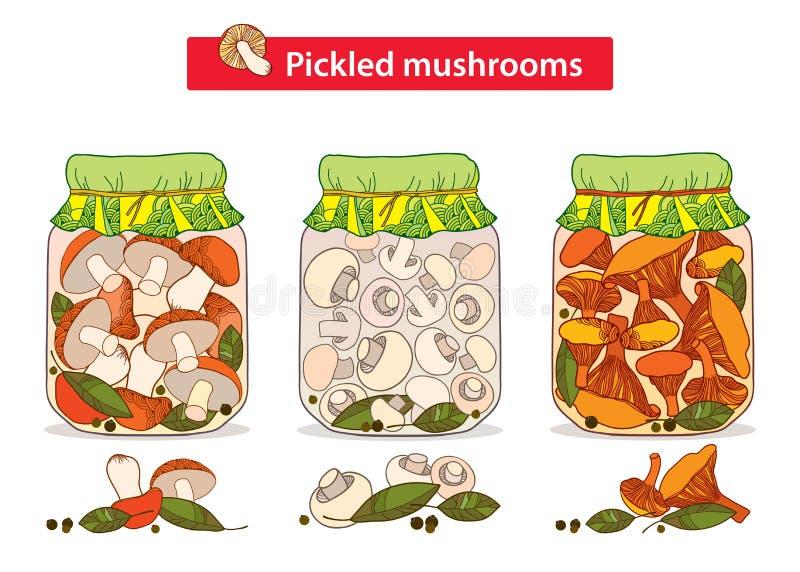 传染媒介设置了与烂醉如泥的橙色盖帽牛肝菌蕈类,黄蘑菇和蘑菇在有月桂叶和黑胡椒的玻璃瓶子采蘑菇 库存例证
