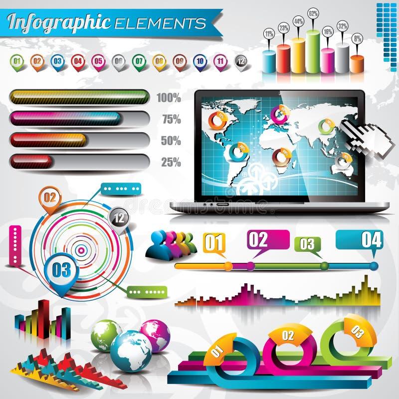 传染媒介设计套infographic元素。 皇族释放例证