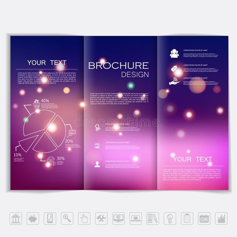传染媒介设计的三部合成的小册子嘲笑 与发光的元素的光滑的未聚焦的bokeh背景 公司业务样式 库存例证