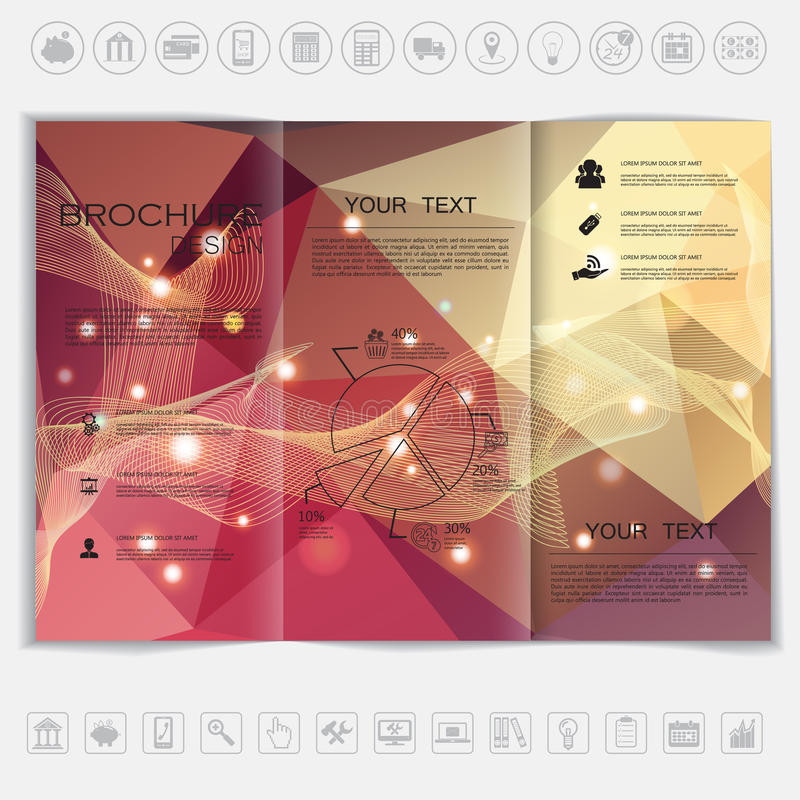 传染媒介设计的三部合成的小册子嘲笑 与波浪和发光的元素的多角形背景 皇族释放例证