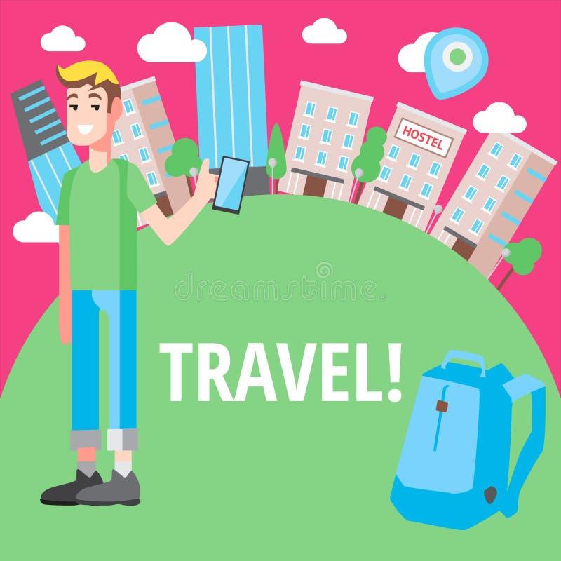 传染媒介设计观念便宜的旅行 库存例证