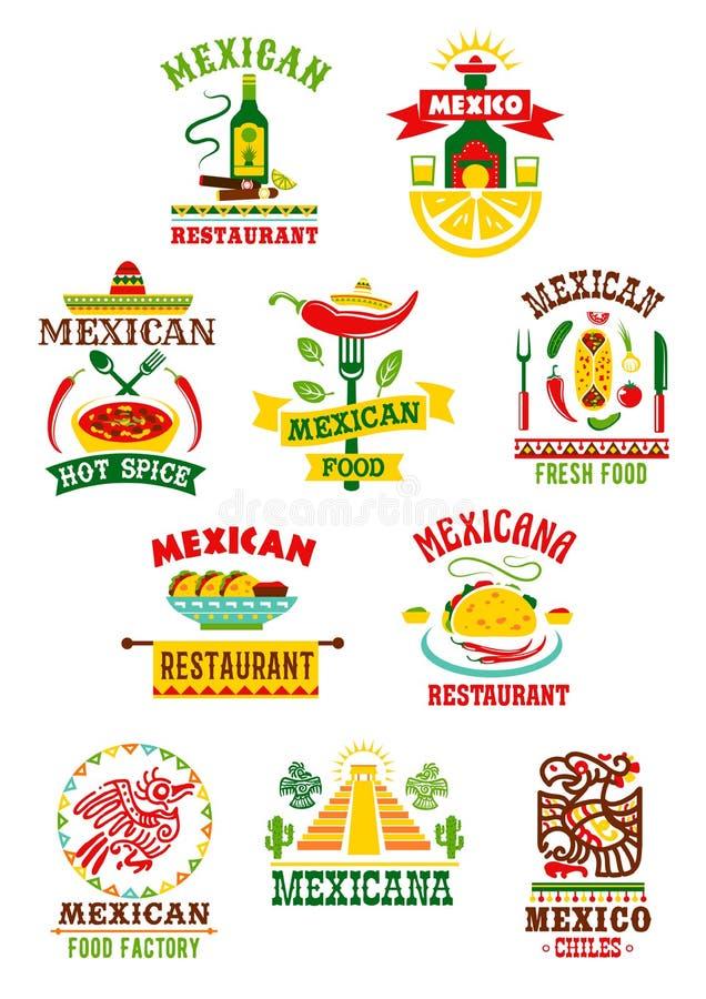 传染媒介象为墨西哥快餐餐馆设置了 向量例证