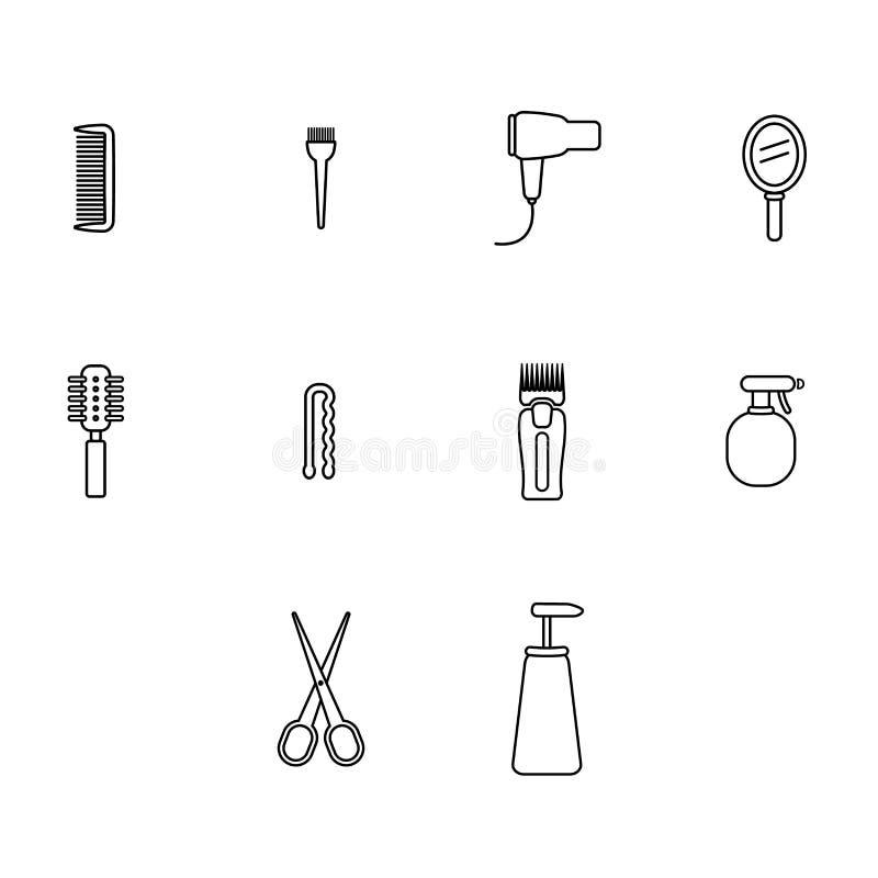 传染媒介象设置了理发师设备和辅助部件 皇族释放例证