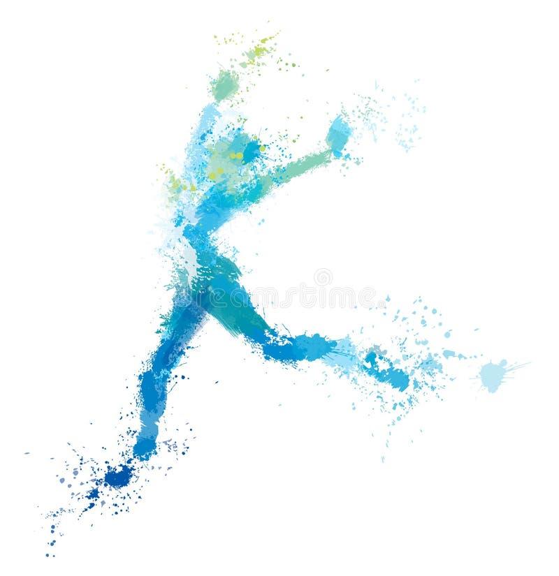 传染媒介跳跃的妇女,飞溅艺术品 向量例证