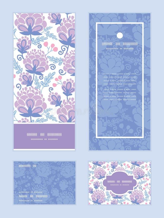 传染媒介软的紫色开花垂直的框架样式 皇族释放例证