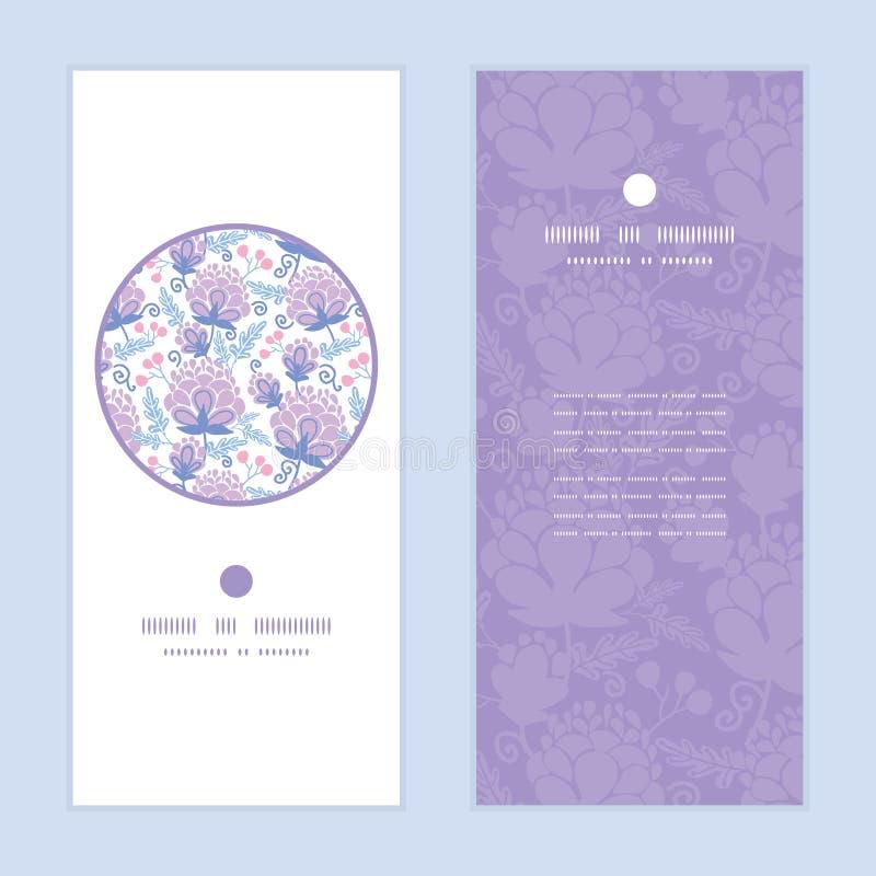 传染媒介软的紫色花垂直的圆的框架 皇族释放例证