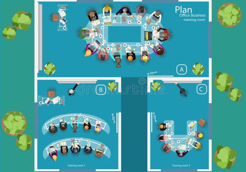 传染媒介运作业务会议和激发灵感的步幅 分析计划概念和网横幅、打印装置和流动technolog 皇族释放例证