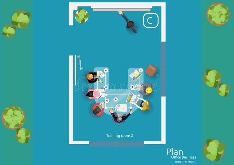传染媒介运作业务会议和激发灵感的步幅 分析计划概念和网横幅、打印装置和流动technolog 向量例证