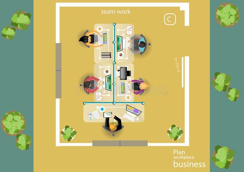 传染媒介运作业务会议和激发灵感的步幅 分析计划概念和网横幅、打印装置和流动technolog 库存例证