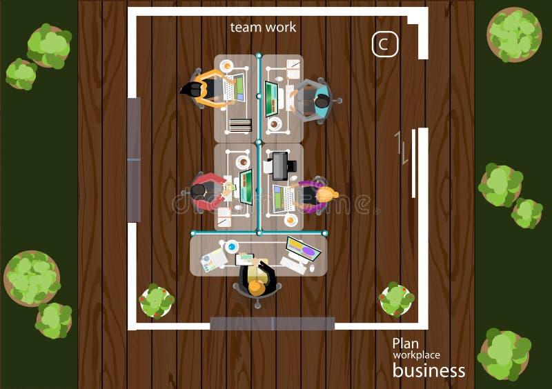 传染媒介运作业务会议和激发灵感的步幅 分析计划概念 皇族释放例证