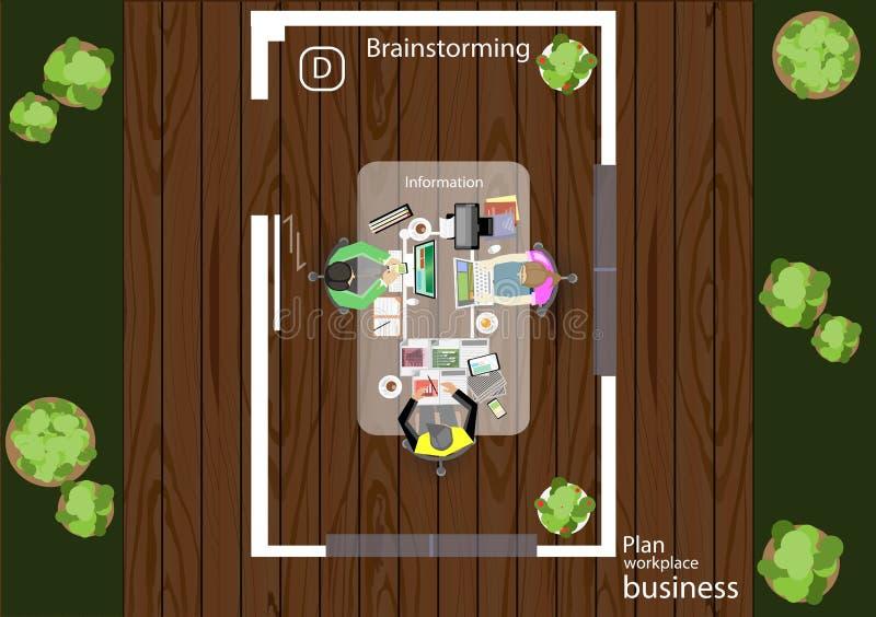 传染媒介运作业务会议和激发灵感的步幅 分析计划概念 库存例证