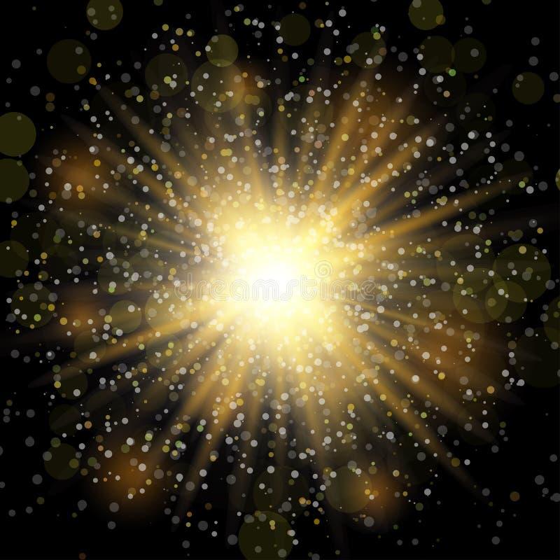 传染媒介透明阳光特别透镜火光光线影响 闪烁金子 与闪闪发光的星爆炸 圣诞节愉快快活新 向量例证