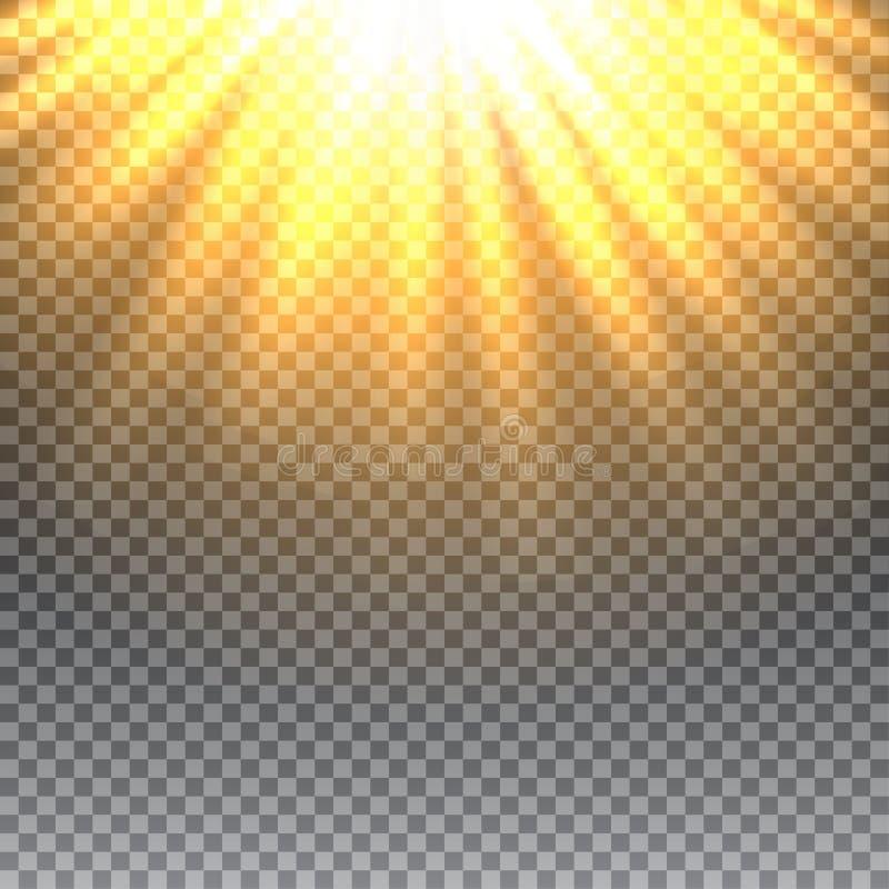 传染媒介透明阳光特别透镜火光光线影响 库存例证