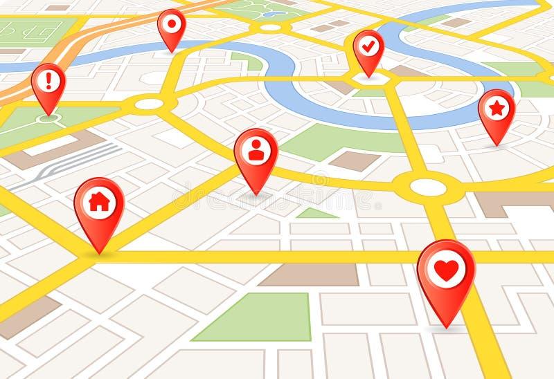 传染媒介透视与标志的城市地图 库存例证