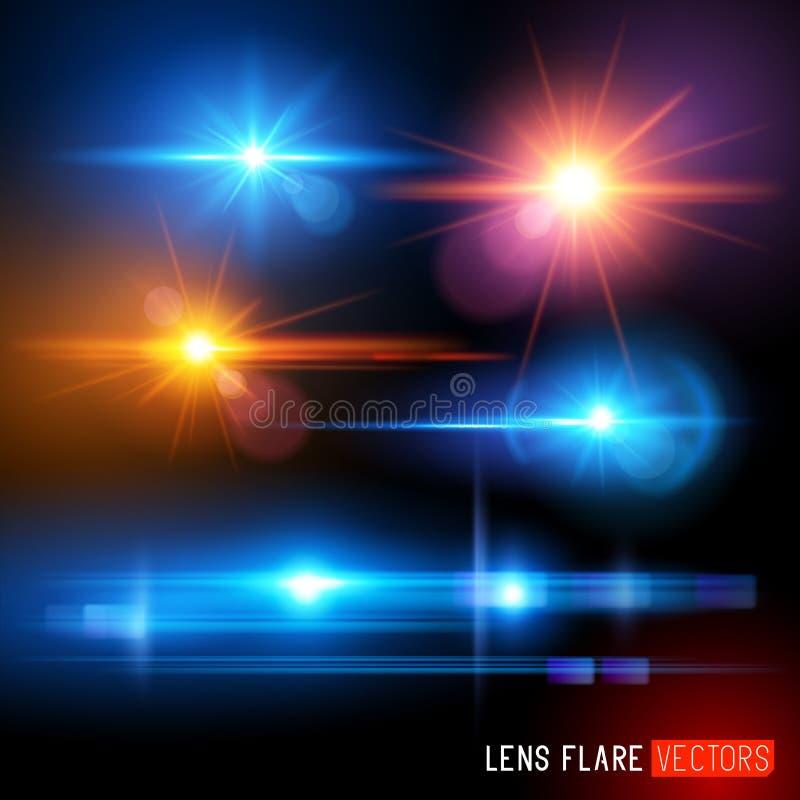 传染媒介透镜火光集合 向量例证