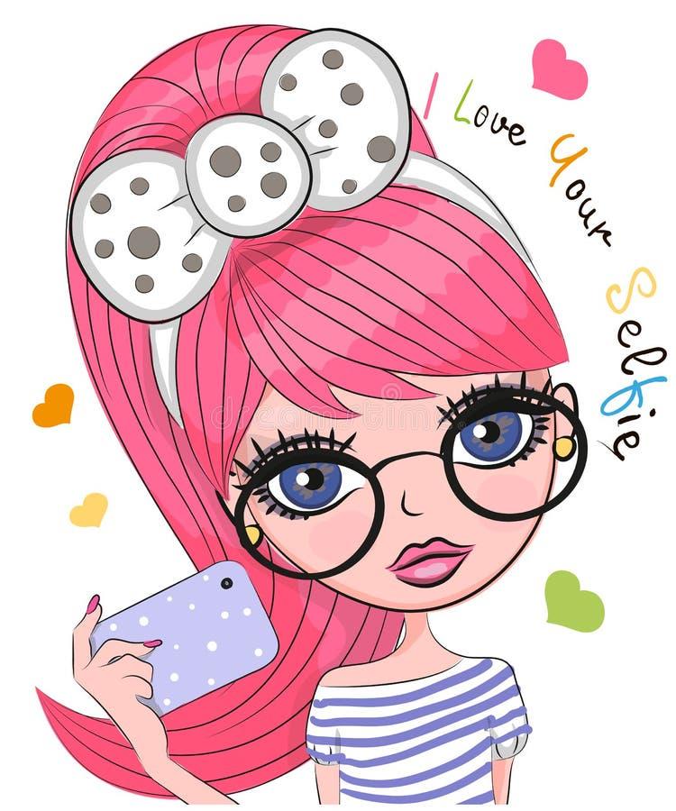 传染媒介逗人喜爱的动画片女孩做selfie 向量例证