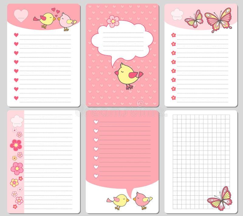 传染媒介逗人喜爱的卡片 笔记、贴纸、标签、标记与滑稽的鸟和心脏 为工艺纸,剪贴薄,模板设计并且招呼 皇族释放例证