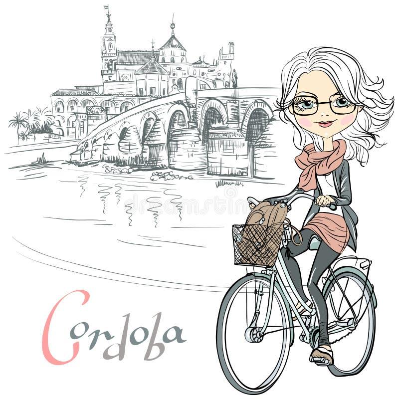 传染媒介逗人喜爱的女孩在科多巴骑一辆自行车 皇族释放例证