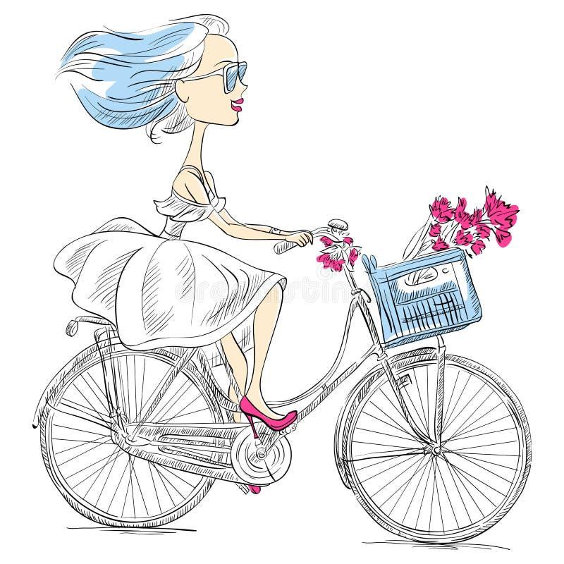传染媒介逗人喜爱的女孩骑自行车 向量例证