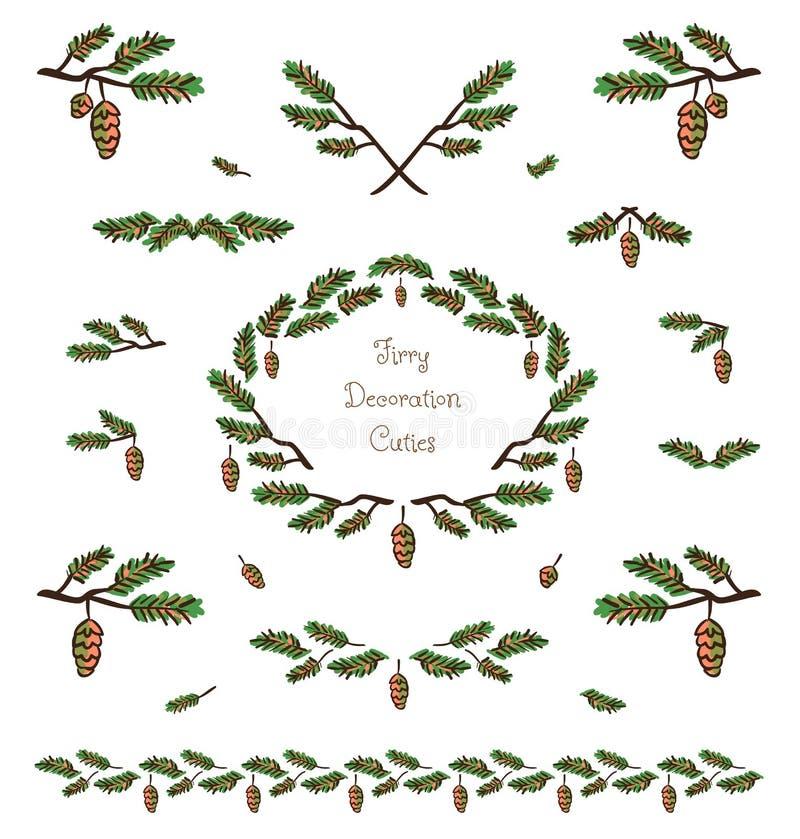 传染媒介逗人喜爱的植物装饰元素和小插图 库存例证