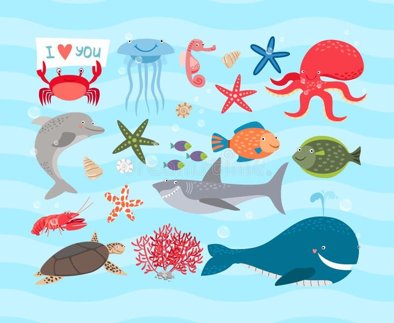 传染媒介逗人喜爱的海洋动物 海豚和鲸鱼 库存例证