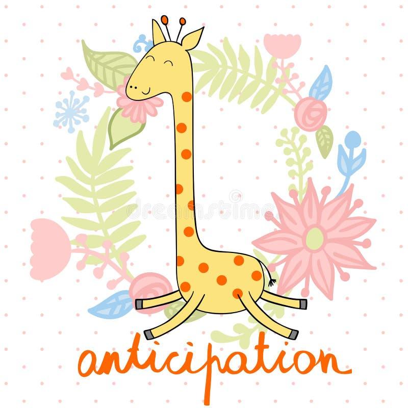传染媒介逗人喜爱的长颈鹿 向量例证