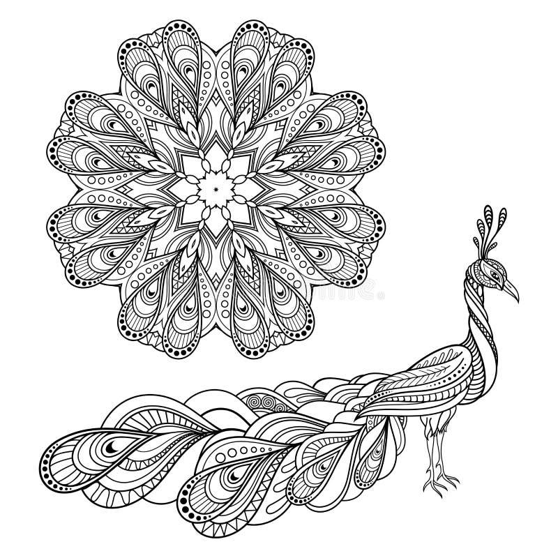 在zentangle样式的孔雀 成人antistress着色页.