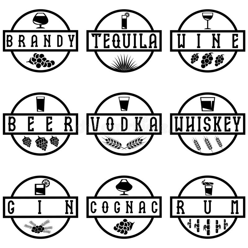 传染媒介酒精饮料标号组  库存例证
