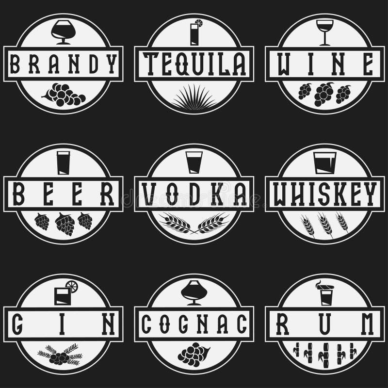 传染媒介酒精饮料标号组  皇族释放例证