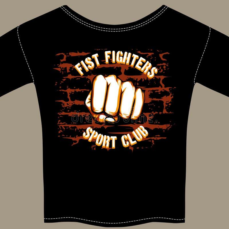 传染媒介酷的战斗俱乐部衬衣模板设计 皇族释放例证
