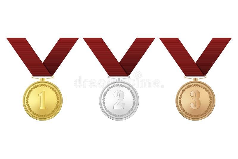 传染媒介金、银和古铜与红色丝带的奖奖牌在白色背景设置了 第一,第二,第三 库存例证