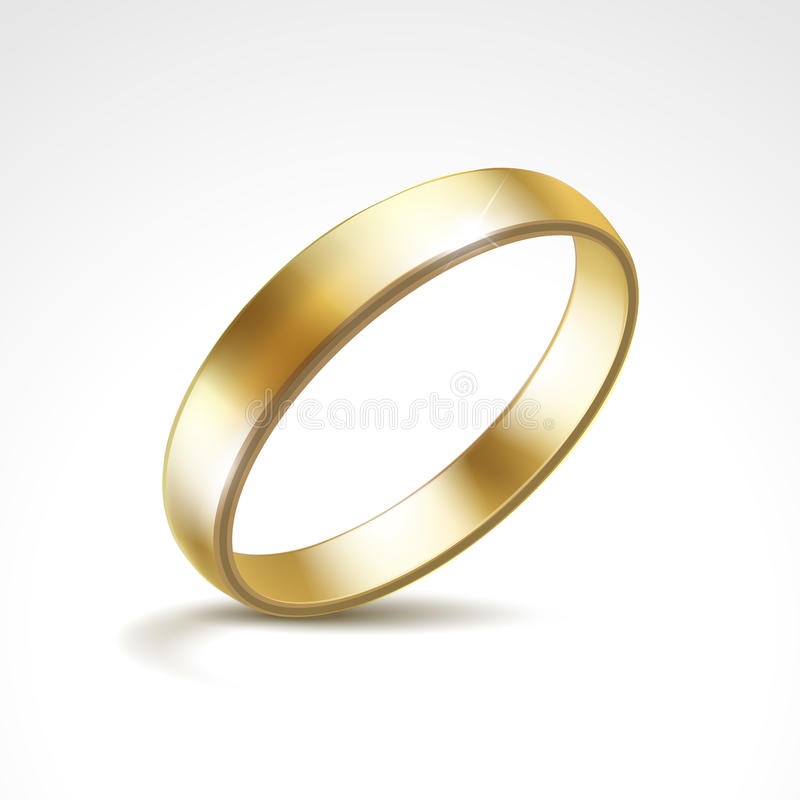 传染媒介金子被隔绝的婚戒 库存例证
