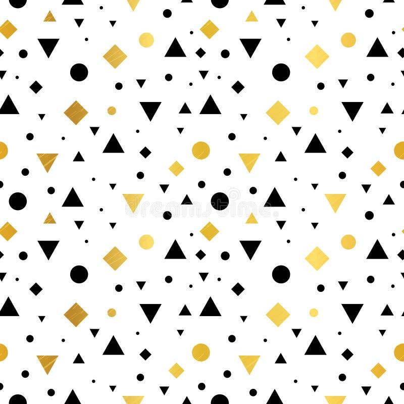 传染媒介金子,黑白葡萄酒几何形状无缝的重复样式背景 为织品完善,包装 库存例证