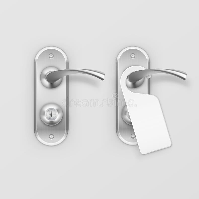 传染媒介金属有在背景隔绝的挂衣架的门把手锁 皇族释放例证