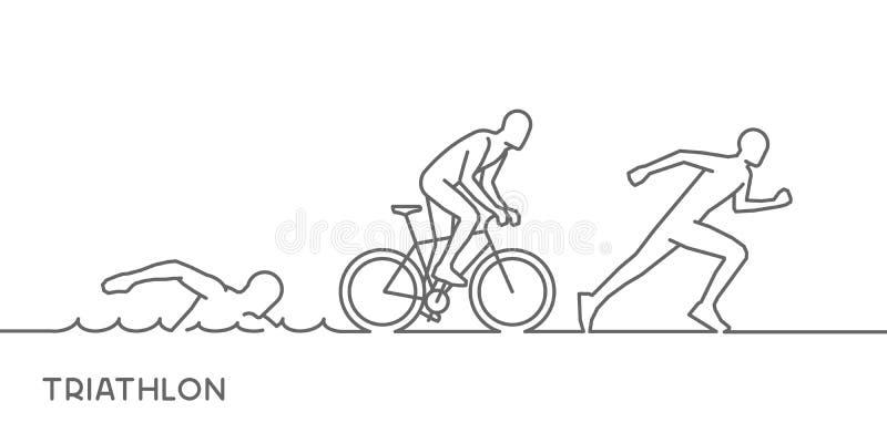 传染媒介金线商标三项全能 游泳,循环和跑s 皇族释放例证