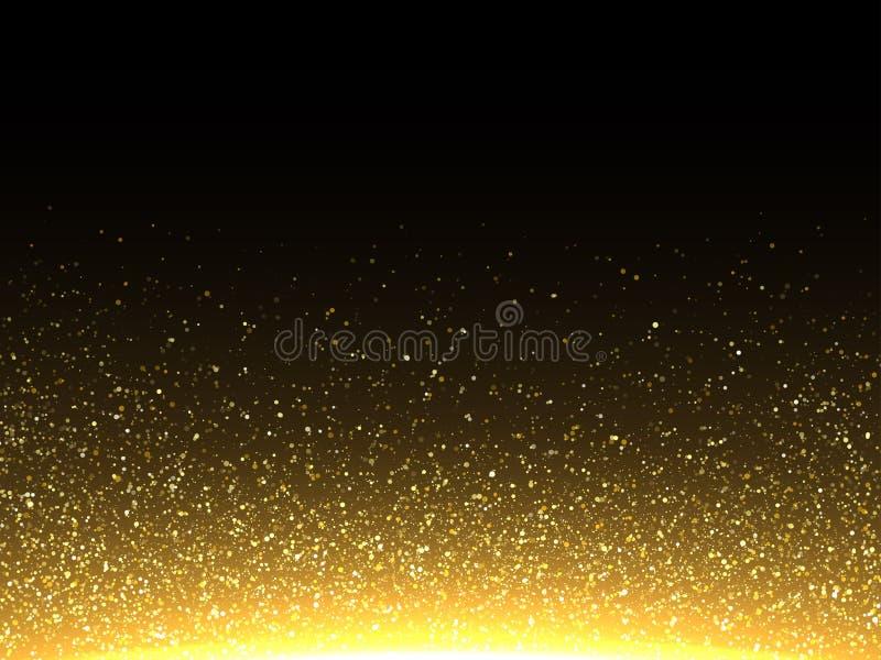 传染媒介金闪烁的微粒 闪耀的闪烁尘土 库存例证
