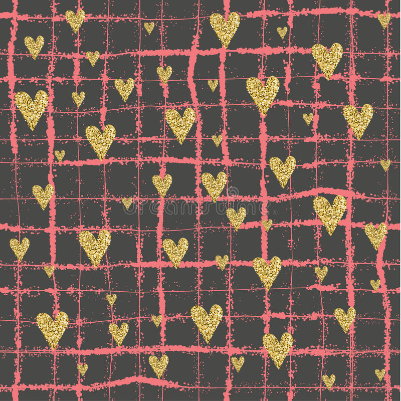 传染媒介金闪烁的心脏无缝的样式 向量例证